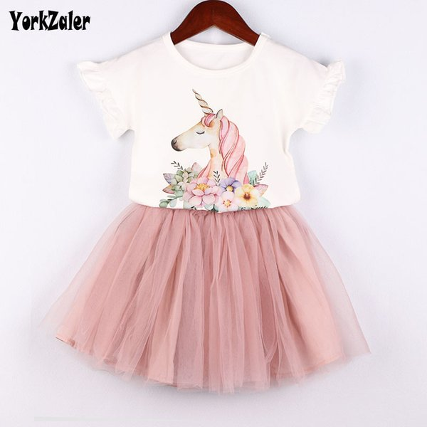 Yorkzaler Kids Clothing Set For Girl Printed Cartoon Shirt With Mesh Skirt Children's 2pcs Clothes Suit Toddler Baby Outfits