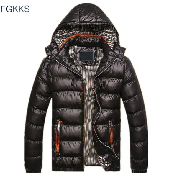 FGKKS Novos Homens Jaqueta de Inverno Com Capuz de Moda Térmica Para Baixo Algodão Parkas Casuais Masculinos Hoodies Roupas de Marca Casaco Quente