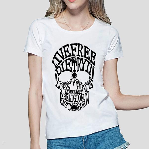 T das mulheres 2018 Crânio Verão Impresso Tshirt Mulheres Engraçado Algodão Camisa Ocasional Para a Senhora Moda Harajuku Marca Feminino T-shirt Kawaii Do Punk Tops