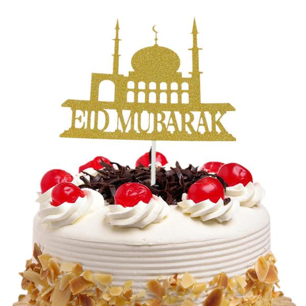20pc/lot Eid Mubarak Cake Toppers Flags Glitter Kids Birthday Cupcake Topper Wedding Bride Baby Shower Party Ramadan Baking DIY