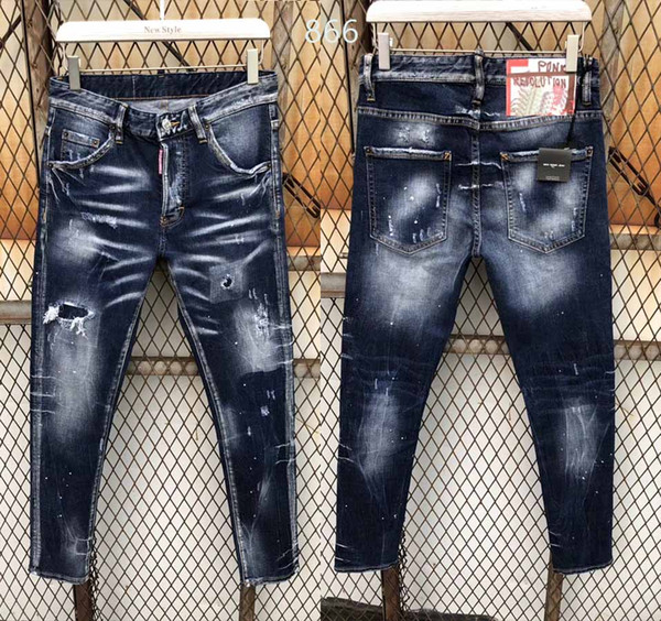 2018 New arrival fashion famous designer TOP quality Ripped Skinny cool guy jeans causal hole Denim Jeans Washed Hip pop mens jeans 866