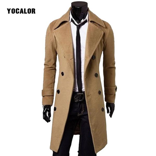 Sonbahar Kış Erkekler Yün Karışımları Ceket Uzun Rüzgarlık Palto Jakets Erkekler Kabanlar Palto Erkek Kalın Yastıklı Trençkot Slim Fit