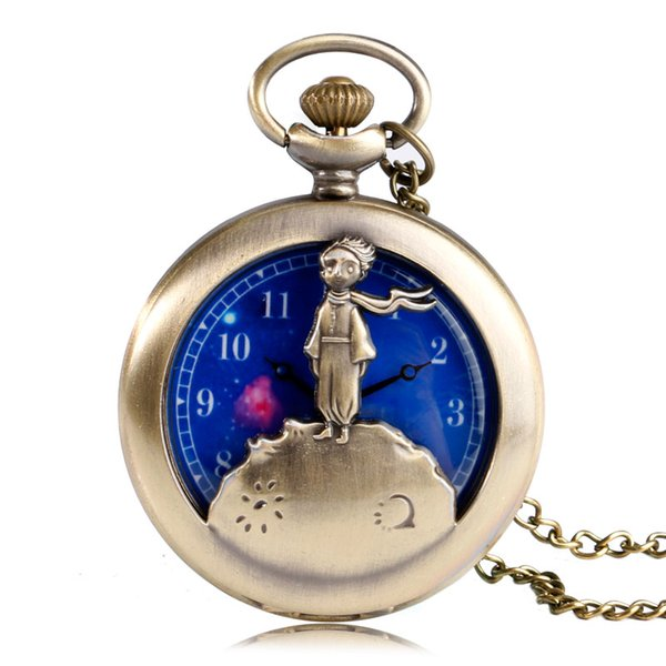 Moda popular Little Prince Design reloj de bolsillo de cuarzo elegante esfera azul con collar colgante regalo reloj Fob para Boy Girl