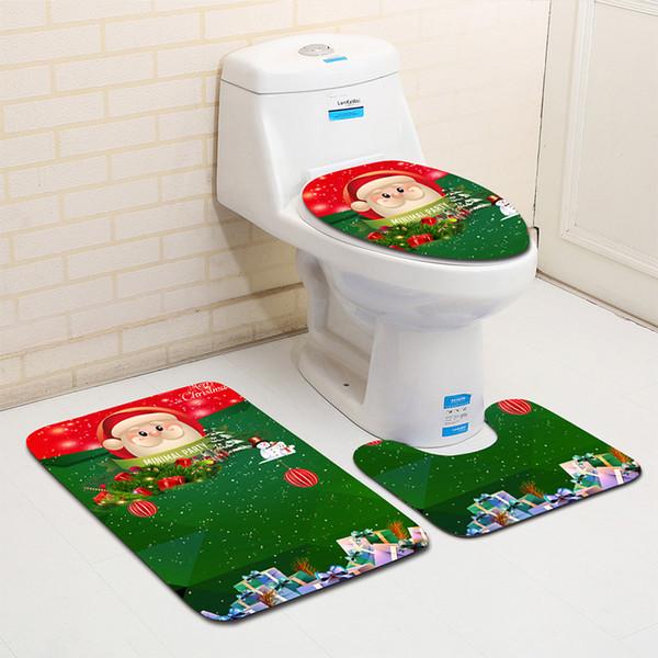 Zeegle Christmas Decoration 3pcs Toilet Rug Bathroom Set Anti-skid Bathroom Floor Mats Absorbent Lid Toilet Cover Bath Mats