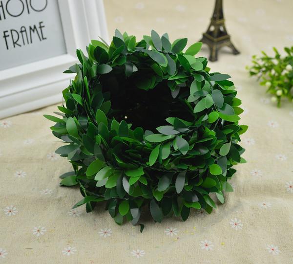 100CM/lot Silk Green leaf fake plastic Iron rattan christmas wreath decor for home wedding diy garland gifts artificial flowers