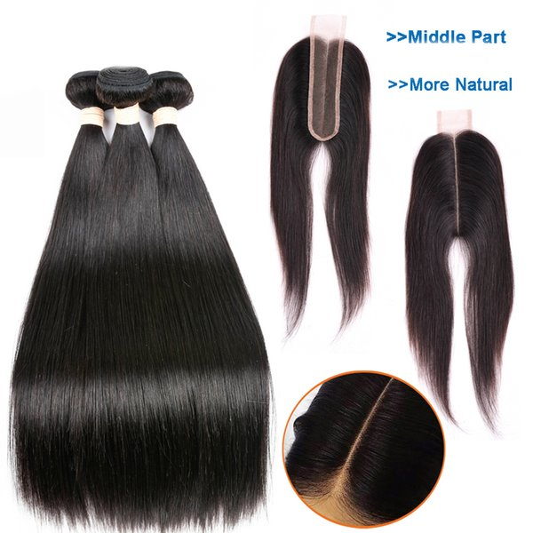 Brazilian Straight Hair Weave Bundles With Closure 2*6 Lace Closure With Human Hair Bundles Middle Part 9A Long Remy Hair Natural Black