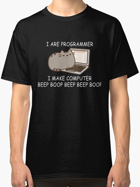 Я программист я делаю компьютер Бип Буп кодер мужская футболка черный 2018 Лето мужская брендовая одежда О-образным вырезом тонкий