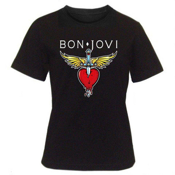 T Shirts 2018 Brand Clothes Slim Fit Printing O-Neck Short Bon Jovi Rock Band Heart New Style Tee Shirt For Men