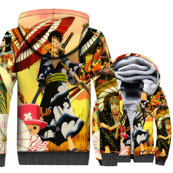 Anime Jackets Men One Piece 3D Hoodies The Straw Hat Pirates Luffy Sweatshirts Winter Thick Fleece Harajuku The Pirate King Coat
