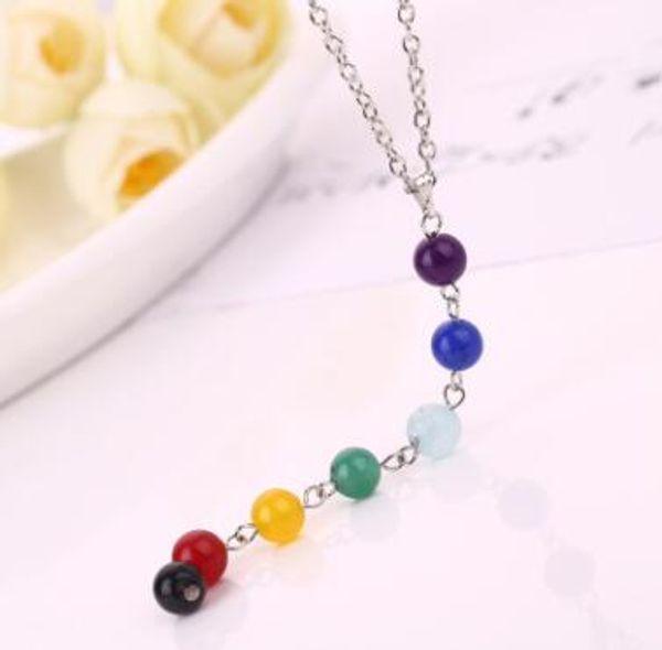 7 Yoga Chakra Stone Beads Pendant Necklace Yoga Reiki Healing Balancing Necklaces for Women Buddha Bead Necklace 7 Chakra Necklaces