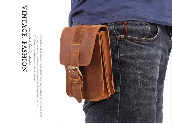 Mens Waist Bag Crazy Horse Cow Leather Travel small Fanny Pack Belt Loops Hip Bum Bag Male Mini Messenger Bags