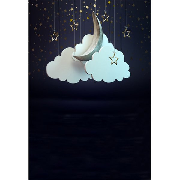 Dark Blue Sky Printed Gold Stars Photography Backdrops Vinyl Printed White Clouds Crescent Moon Kids Children Photo Studio Backgrounds