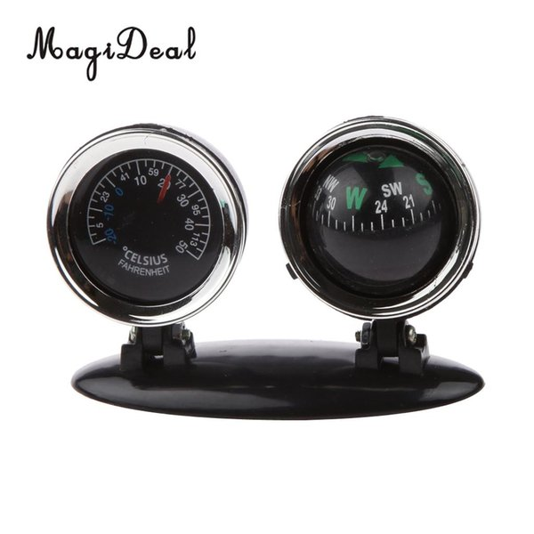 MagiDeal 2 in 1 Outdoor Travel Car Compass Thermometer Boat Hiking Hunting Tool for Marine Canoe Kayak Car Mount Navigation