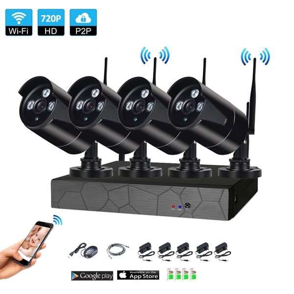 4CH Wireless NVR 720P IR outdoor P2P WIFI 4 PCS 1.0MP CCTV Security Camera System Surveillance Kit
