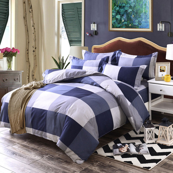 3D Bedding Sets Star/clouds Duvet Cover Blue White Grey 3/4pc Bed Sheets Single Full Queen King Size Girl Boys Geometric Linens