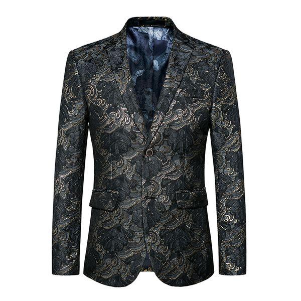 Chaqueta de los hombres 2017 Chaqueta de traje de lujo bordado Chaquetas de estilo Primavera Otoño Encanto de verano Hombres traje de la etapa Slim Fit ocasional