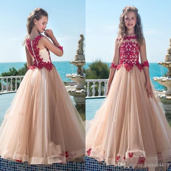 3bd993181 Compre Champagne 2019 Flor Vestidos De Niñas Para Bodas Medias Mangas  Encaje Rojo Apliques Vestido De Fiesta De Tul Niña De Cumpleaños Vestidos  Del ...