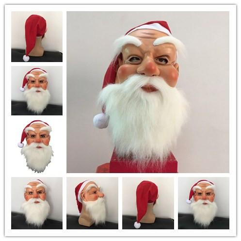 Christmas Cosplay Head Mask Santa Claus Role-playing Beard Mask Kindergarten Children Kids Face Toys Masks for Xmas Festival Party Dance