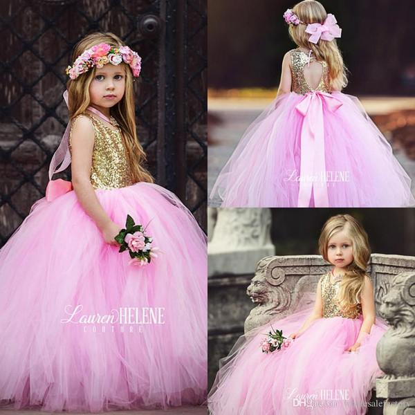 Süße Puffy Pink Tüll Little Girls Pageant Kleider Top Gold Pailletten bodenlangen Blumenmädchen Kleid Bow Sash Formale junior Brautjungfer Kleider