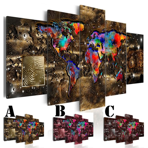 No Frame Wall Art Picture Printed Canvas Oil Painting 5pcs/set Home Decor Extra Mirror Border Abstract Colorful World Map