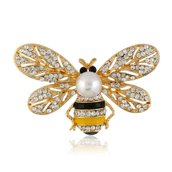 European and American fashion animal brooch pearl painting oil chest flower bee brooch wholesale
