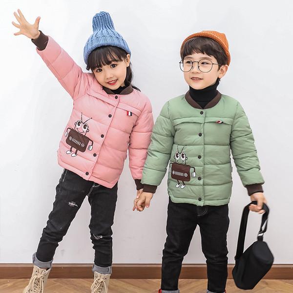 2018 Erkek Bebek Çocuk Kabanlar Coat Çocuk Ceketler Kız Kış Ceket Sıcak Kapşonlu Çocuk Giyim Gri Haki Kırmızı