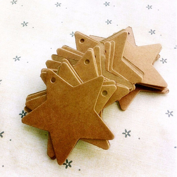 100pcs/lot Card Wedding Christmas Halloween Party Favor Label Luggage Tags Brown Star Kraft Paper Price Gift