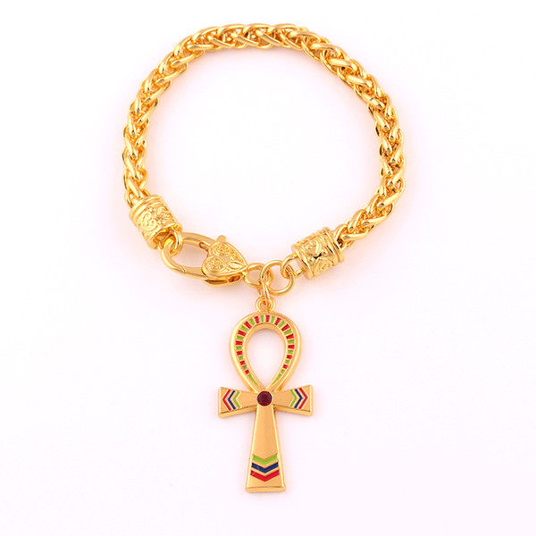 Vintage égyptien Ankh symbole de croix de vie pendentif bracelet couleur d'or charme cristal émail ornement chaîne de lien de blé