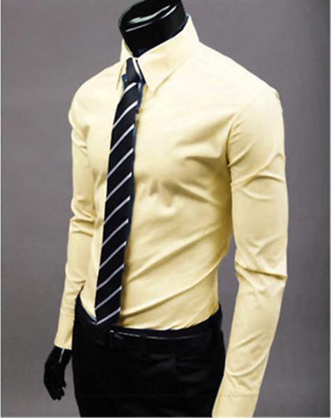 New Fashion Brand Yellow Groom Shirts Long Sleeve Shirt Men Slim Design Formal Casual Male Dress Shirt Size M-5XL (C8003)
