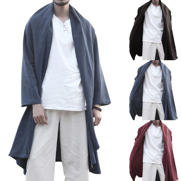 Chinese Style Men's Trench Outerwear Hooded Long Sleeve Lapel Neck Vintage Long Cloak Cape Men Autumn Solid Color Loose Cardigan