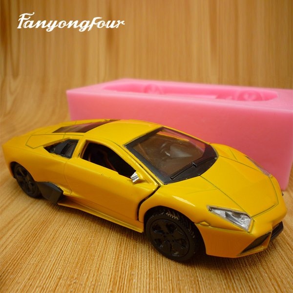 3D Yellow Sports Car Cake Mold Silicone Mold Chocolate Gypsum Candle Soap Candy Mold Kitchen Bake Free Shipping
