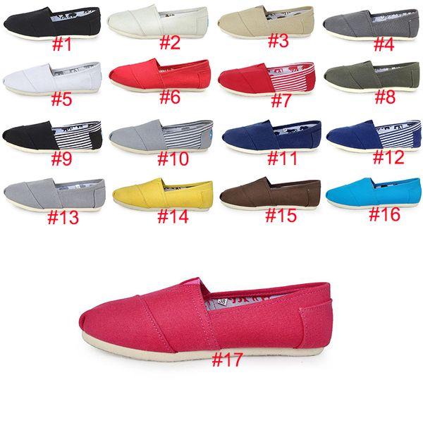 17 couleurs TOM Sneakers Slip-On Casual Chaussures paresseux pour femmes et hommes Mode Toile Mocassins Appartements Taille 35-45 Classiques Designer Chaussures