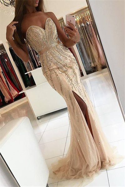 Major Beading Champagne Split Prom Dresses Sweetheart Backless Beaded Crystal Mermaid Party Dress Tulle Special Occasion Evening Dress
