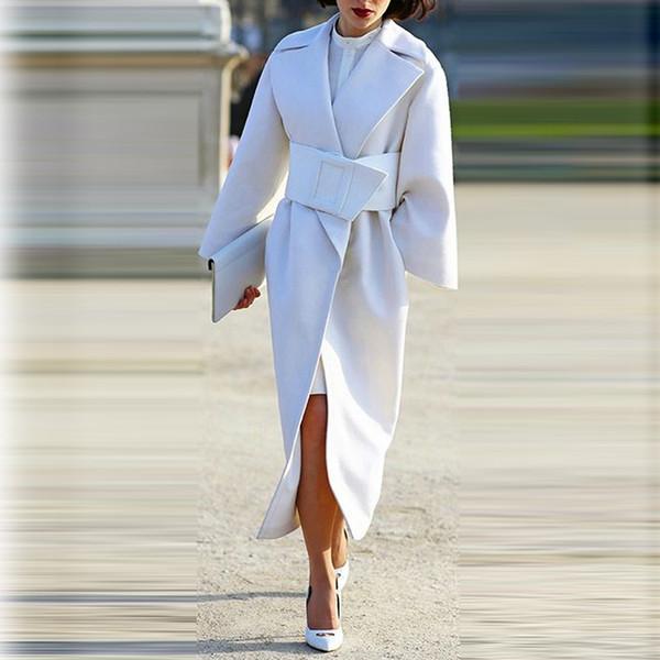 Cinturón de mujer abrigo Otoño gabardina larga Abrigo chaqueta femenina cortaviento blanco Elecardigan más tamaño capa casaco feminino