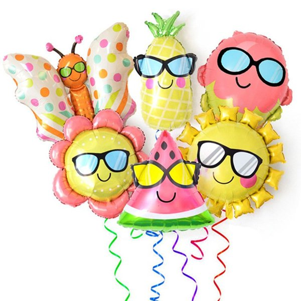 Summer Series Cartoon Glass Party Decoration Aluminum Foil Balloon Butterfly Sun Fruit Ice Cream Indoor Background Wall Decoration Props