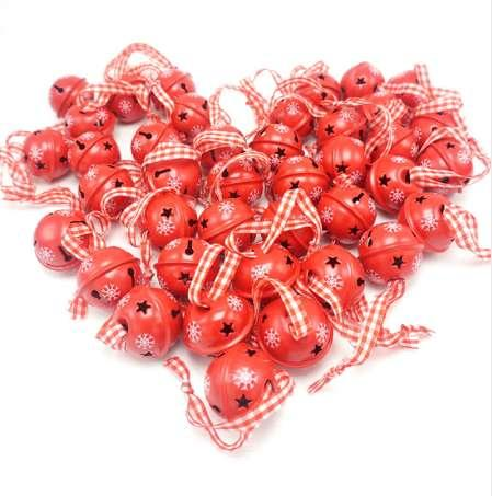 Christmas decoration 40 pcs red metal snowflake jingle bell Christmas ornament for home 30mm party decoration tree pendant 2018