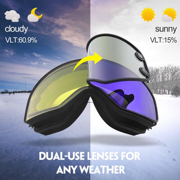 COPOZZ Óculos De Esqui 2 em 1 com Lente Dupla-uso Magnético para o Esqui  Noturno Anti-fog UV400 Óculos de Snowboard Óculos de Esqui Das Mulheres Dos  Homens 1b574121e6