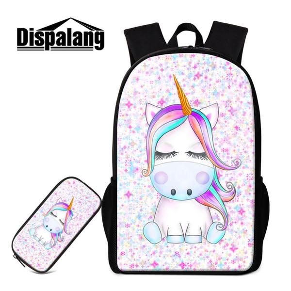 Dispalang Cute School Bag Unicorn Patterns Animal Backpack for Teen Girls Personalized Bagpack Children Satchel Printed Book Bag