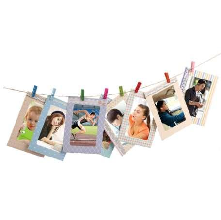 Creative Home 8Pcs 6 inch Rectangle Paper Photo Frame With Wood Clips Wall Picture Album DIY Hanging Rope Frame Home Decer