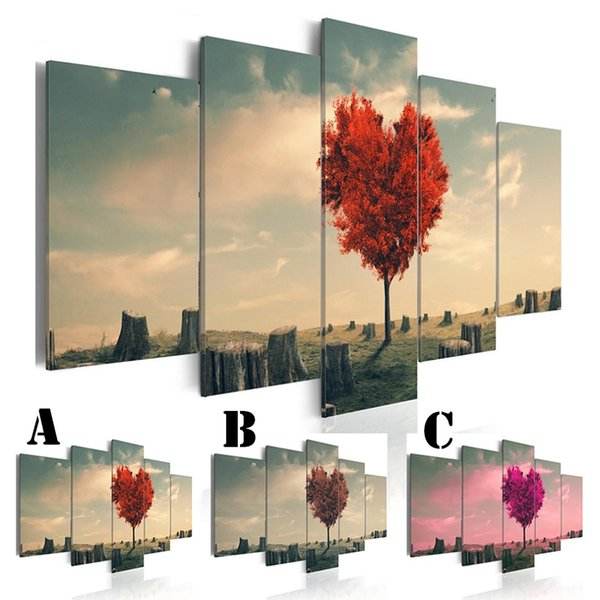 No Framed Wall Picture Printed Canvas Painting Spray Painting5pcs/set Home Decor Extra Mirror Border Love the Single Tree