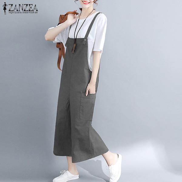 fee3d28fd82 Plus Size 2018 ZANZEA Women Summer Wide Leg Jumpsuits Strappy Solid Loose  Cotton Linen Rompers Casual