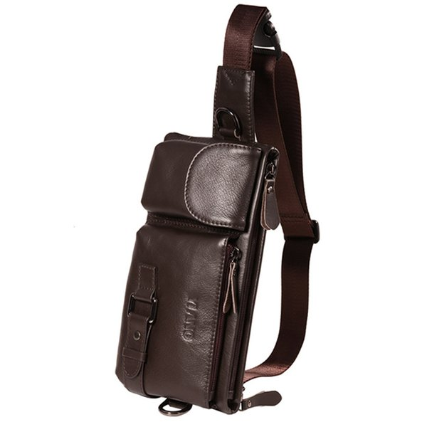 High Quality Genuine Leather men's Waist bag Shoulder chest bags Cycling Bags For mobile phone cigarette lighter