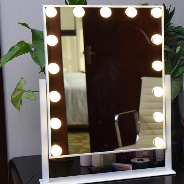 كبير LED ماكياج مرآة Roration منضدية بيضاء مضاءة شاشة تعمل باللمس الغرور مرآة مع المصابيح 15PCS لغرفة خلع الملابس