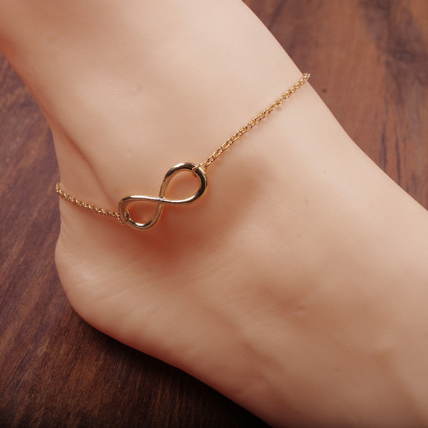 Gold Infinity Charm Anklets Bracelets With Classic 8 Foot Chain Barefoot Sandals Jewelry For Women Beach Pool Party Ankle Bracelet