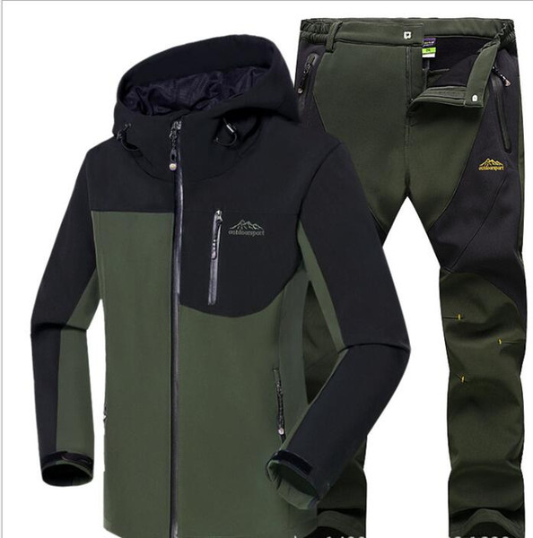 Man Winter Waterproof Fishing Skiing Warm Softshell Fleece Hiking Outdoor Trekking Camping Jacket Set + Pants 5XL S3