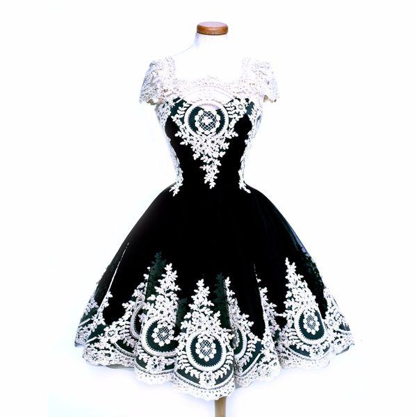 Top Sale Black Gothic Vintage Lace Embroidery Club Dresses