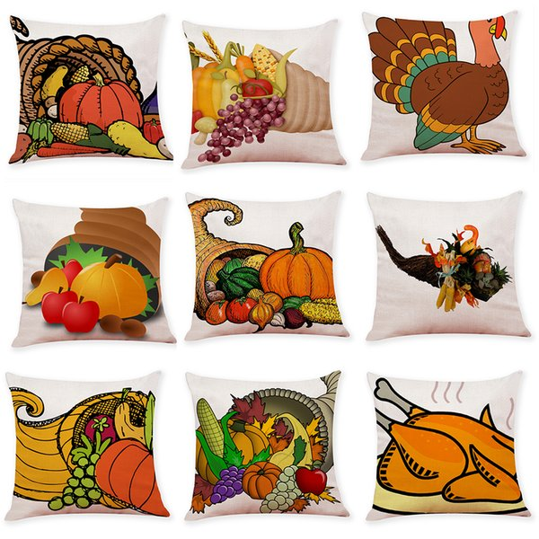 Admirable Thanksgiving Pumpkin Turkey Linen Cushion Covers Home Office Sofa Square Pillow Case Decorative Pillow Covers Without Insert 18 18Inch Outdoor Wicker Gmtry Best Dining Table And Chair Ideas Images Gmtryco