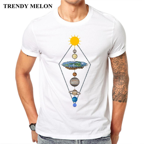 86130153 Trendy Melon Novelty Printing Men T-shirt Flat Earth In Solar System Funny Cool  Tops