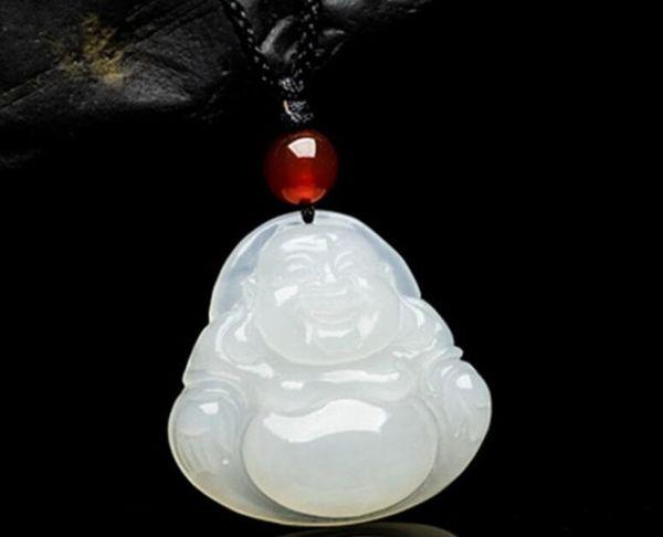 Hetian white jade Buddha pendant necklace female models hand carved