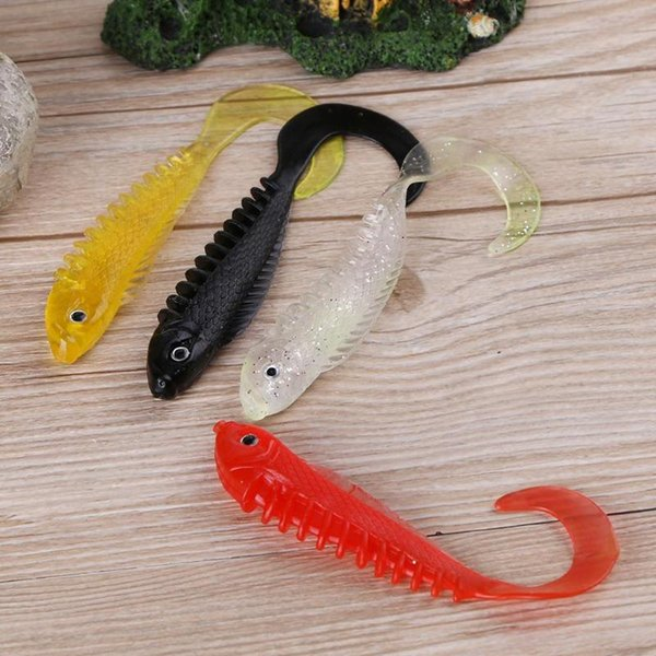 4pcs/set Wobbler Jigging 10cm/6g Fishing Tackle Lure Soft Rubber Curly Tail Artificial Baits Fishing Soft Fish Lures Accessories